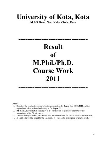 phd coursework result jiwaji university