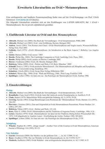 Erweiterte Literaturliste zu Ovid • Metamorphosen - Latein Kreativ