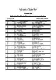 Final list of the candidates for AR (Recruitment ... - University of Kota