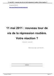 11 mai 2011 : nouveau tour de vis de la répression ... - FFMC 43