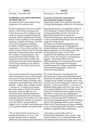englisch deutsch Thursday, 1 November 2007 ... - Biopiraterie