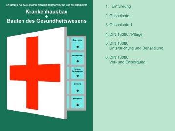 1. Einführung 2. Geschichte I 3. Geschichte II 4. DIN 13080 / Pflege 5 ...