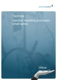 Technics injection moulding prototypes small series - Alphaform