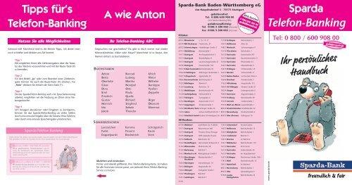 Ihr Personliches Handbuch Tel Sparda Bank Baden Wurttemberg Eg