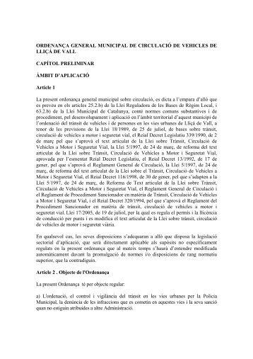 ORDENANA GENERAL MUNICIPAL DE CIRCULACI DE VEHICLES ...