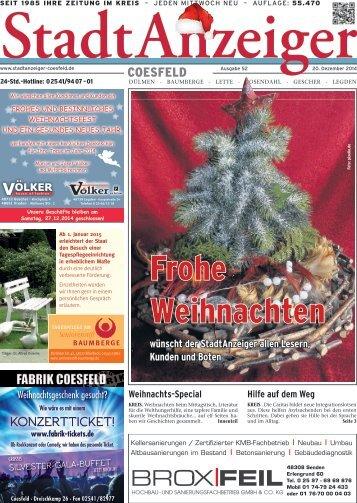 Stadt Anzeiger Coesfeld Weihnachten