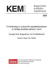 KemI Rapport 2/03 - Kemikalieinspektionen