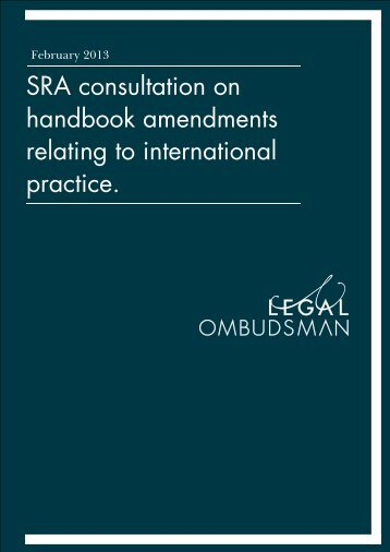 SRA consultation on handbook amendments relating to international ...