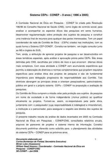Sistema CEPs - CONEP – 9 anos ( 1996 a 2005) - Anis