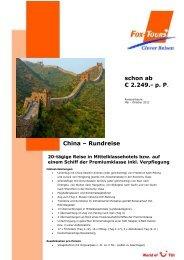 schon ab € 2.249.- p. P. China – Rundreise