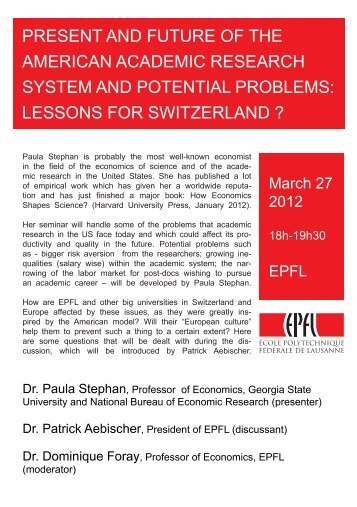 present and future of the american academic ... - Memento EPFL