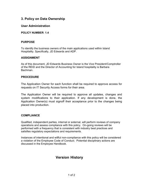 Version History - Island Hospitality Management