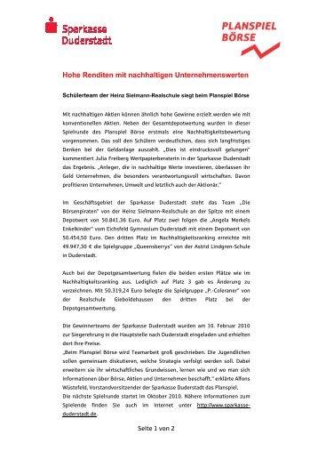Hohe Renditen mit nachhaltigen ... - Sparkasse Duderstadt