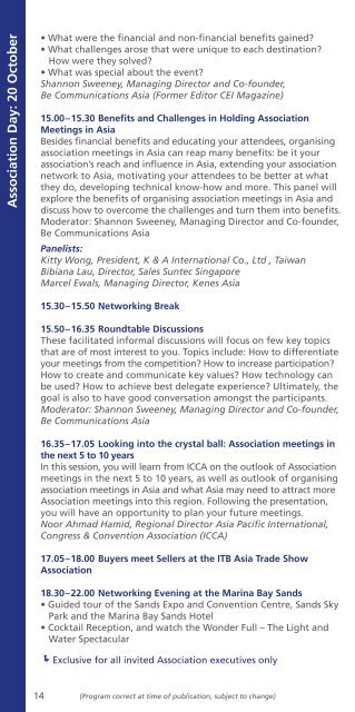 Event Program 2011 - ITB Asia