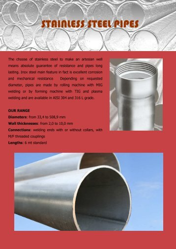Stainless steel pipes - pancera tubi e filtri srl