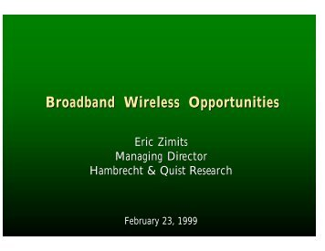 Broadband Wireless Opportunities - Wireless Communications ...