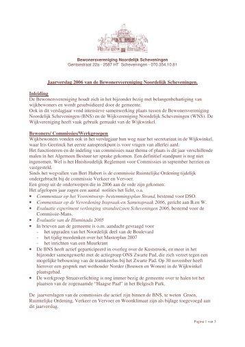 Jaarverslag 2006 van de Bewonersvereniging Noordelijk ...