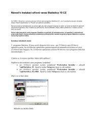 Návod k instalaci síťové verze Statistica 10 CZ