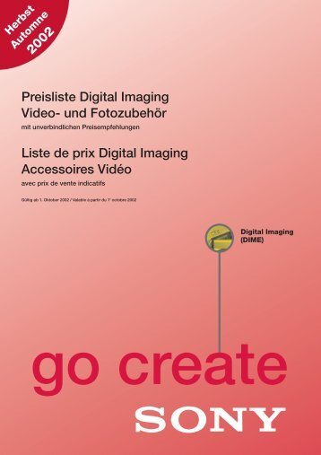 Preisliste Digital Imaging Video- und Fotozubehör Liste de prix ...