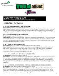 CADETTE WORKSHOPS SESSION 1 OPTIONS