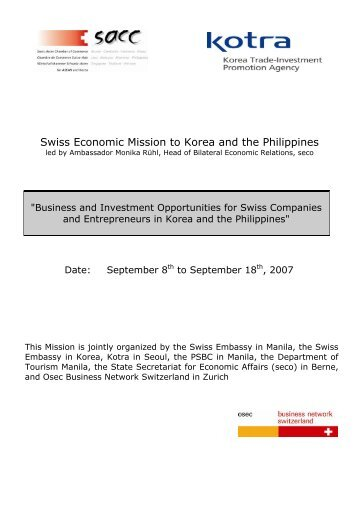 Swiss Economic Mission to Korea and the Philippines - SwissCham