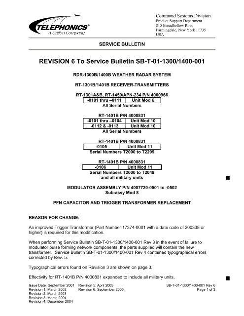 SB-T-01-1300/1400-0001 Rev 6 - Telephonics Corporation