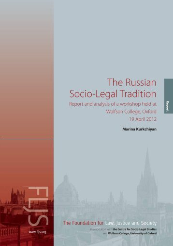 The Russian Socio-Legal Tradition - Foundation for Law, Justice ...