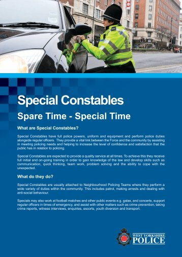 Special Constables - West Yorkshire Police