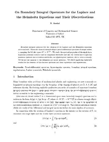 On Boundary Integral Operators for the Laplace and the Helmholtz ...