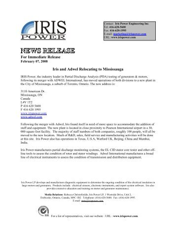 NEWS RELEASE - Iris Power Engineering