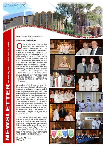 Newsletter June 3 '09 - Marist College Kogarah