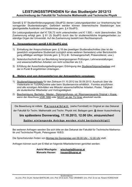 Leistungsstipendien Fã R Das Studienjahr Mibla Tugraz At