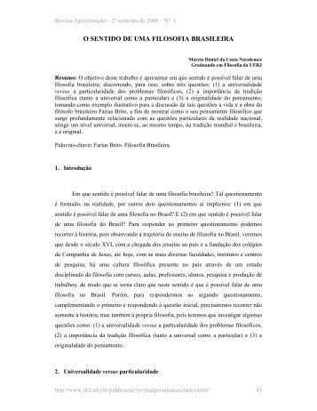 O SENTIDO DE UMA FILOSOFIA BRASILEIRA - IFCS - UFRJ