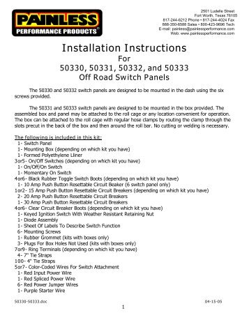 weatherproof fuel pump relay installation instructions painless wiring rh yumpu com Painless Wiring for Old Cars and Trucks Painless Wiring Harness Chevy