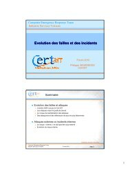Evolution des failles et des incidents - Cert-IST
