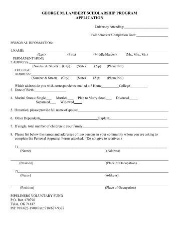 george m. lambert scholarship program application - Local 798