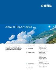 Annual Report 2003 (pdf, 628 KB) - Vaisala