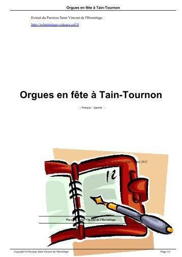 Orgues en fête à Tain-Tournon - Paroisse Saint Vincent de l'Hermitage