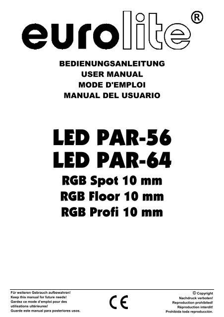 Eurolite led par-64 qcl short manuals.