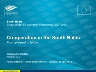 Co-operation in the South Baltic - From present to future (Thorsten ...