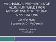 Mechanical Properties of Aluminum Welds - Course Notes