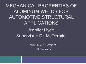 Mechanical Properties of Aluminum Welds - Course Notes