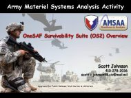 Army Materiel Systems Analysis Activity - OneSAF Public Site