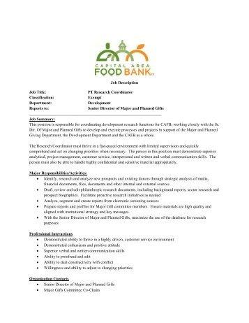 Job Title: Facilities Coordinator Classification - Capital Area ...