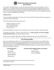 Middle East Studies Association 2013 Election 2013 Election Ballot