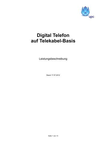 Digital Telefon auf Telekabel-Basis - UPC