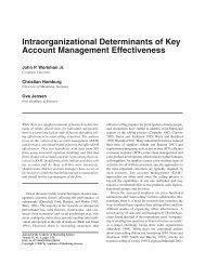 Intraorganizational Determinants of Key Account Management ...