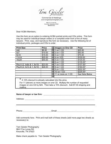 Bcba PortraitsMailIn Order Form  Tom Geisler Photography