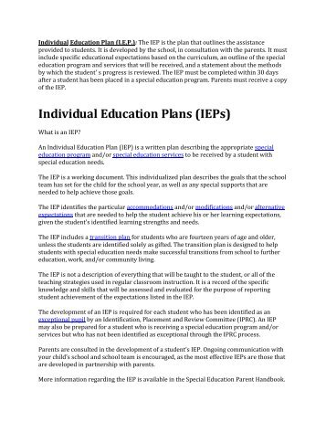 Examples of Individual Education Plans ... - ClickSpecialEdNZ