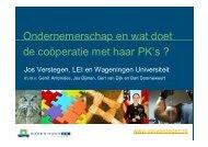 Ondernemerschap en wat doet de coöperatie met haar PK's? (pdf)
